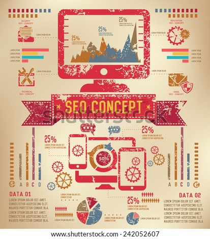 SEO Info graphic design on old paper,grunge vector - stock vector