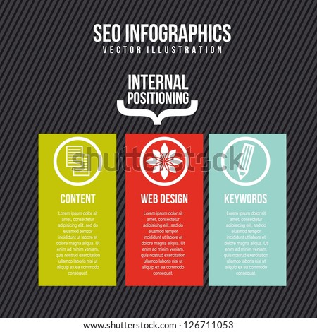 seo infographics with icons over gray background. vector illustration - stock vector