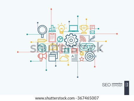 SEO integrated thin line symbols. Modern linear style vector concept, with connected flat design icons. Abstract background illustration for digital network, analytics, social media and market concept - stock vector