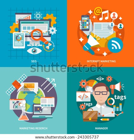 Seo internet marketing design concept with research manager flat icons set isolated vector illustration - stock vector