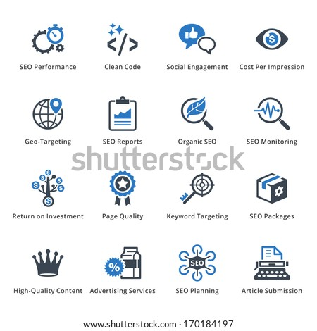 SEO & Internet Marketing Icons - Set 4 | Blue Series - stock vector