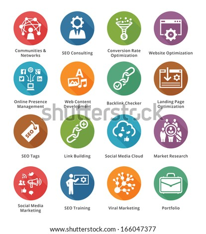 SEO & Internet Marketing Icons - Set 2 | Long Shadow Series - stock vector