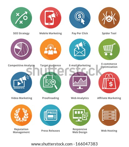 SEO & Internet Marketing Icons - Set 3 | Long Shadow Series - stock vector