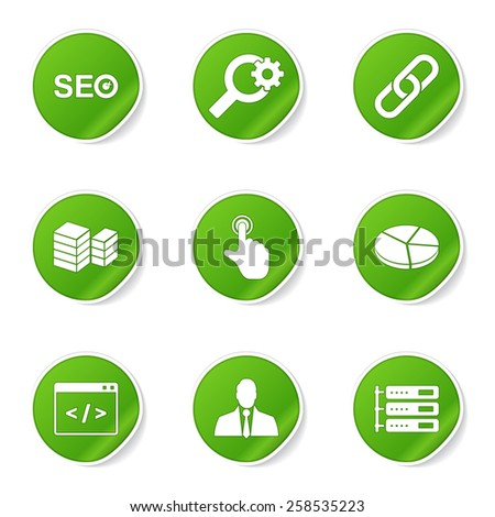 SEO Internet Sign Green Vector Button Icon Design Set 11 - stock vector