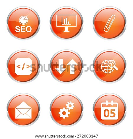 SEO Internet Sign Orange Vector Button Icon Design Set 6 - stock vector