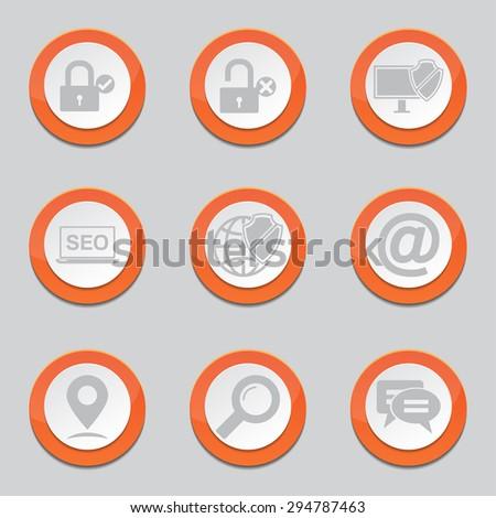 SEO Internet Sign Orange Vector Button Icon Design Set 3 - stock vector