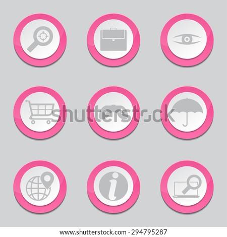 SEO Internet Sign Pink Vector Button Icon Design Set 10 - stock vector