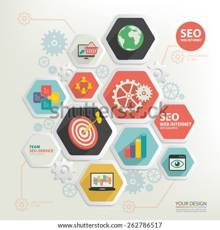 SEO marketing and business marketing design,clean vector - stock vector