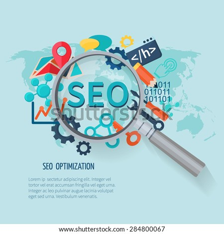 Seo marketing concept with research symbols world map and magnifier vector illustration - stock vector