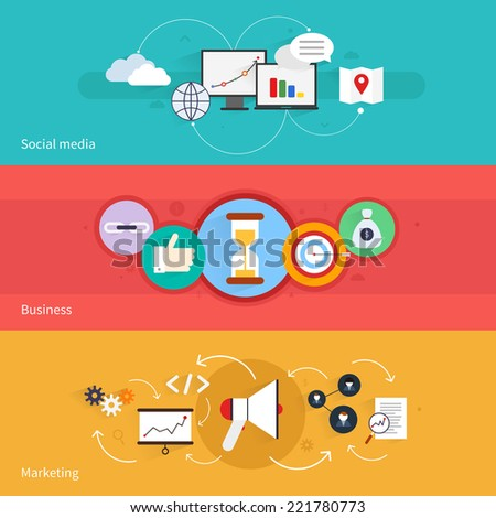 SEO marketing horizontal banner set with social media business isolated vector illustration - stock vector
