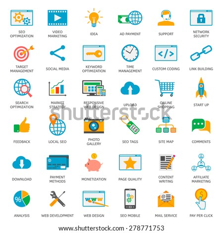 SEO optimization icons. Web development, internet marketing, web design, tags, target strategy, analysis - stock vector