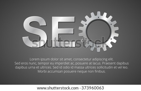 SEO optimization. logo with the use of 3d metal gears. banner with an area for your text - stock vector