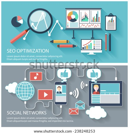 SEO optimization, programming process and web analytics elements in flat design. Set of social network icons - stock vector