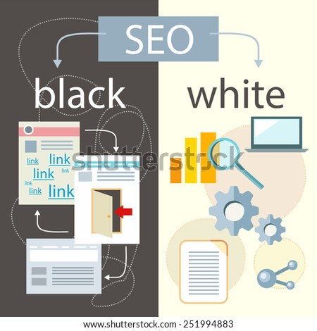 SEO optimization, programming process and web analytics elements in flat design. White hat and black hat search engine optimisation - stock vector