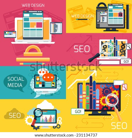 SEO optimization, programming process and web design elements. Web design concept. Computer monitor with the screen of the program for design and architecture in flat design - stock vector