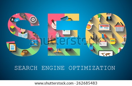 SEO Search engine optimization concept with abstract designs behind. Modern conceptual and high tech background. - stock vector