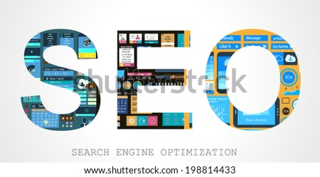 SEO Search engine optimization concept with Flat design and a lot of icons behind. - stock vector