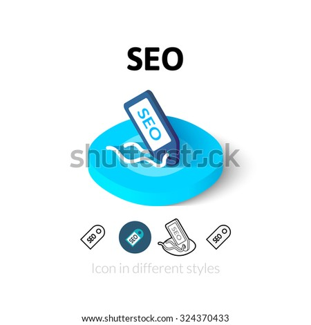 SEO - search engine optimization icon, vector symbol in flat, outline and isometric style - stock vector