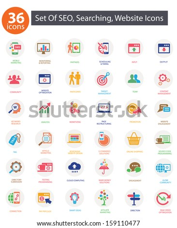 SEO (Search Engine Optimization)icons, Colorful version,vector - stock vector