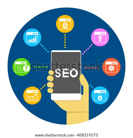 seo, search engine optimization on smart phone concept infographic - stock vector