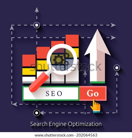 Seo search engine optimization, programming process and web analytics elements. Set for web and mobile applications of seo - stock vector