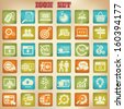SEO,Searching,Website icon set,Vintage style,vector - stock vector
