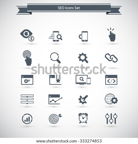 SEO Services Icons - stock vector