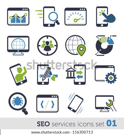 SEO services icons set 01 - stock vector