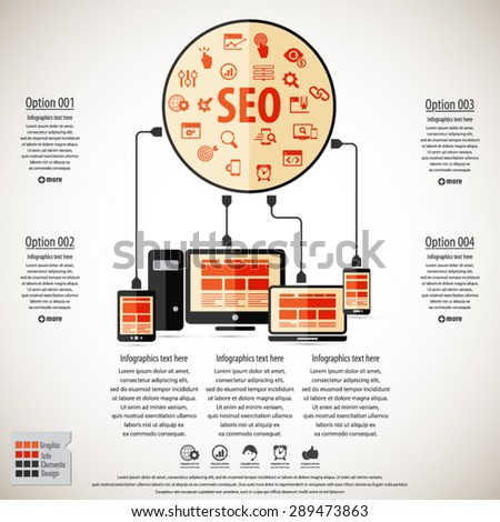SEO services infographics with 20 premium quality SEO icons set. - stock vector