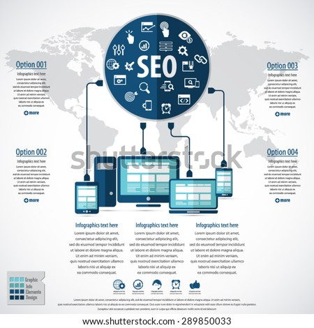 SEO services infographics with 20 premium quality SEO icons set and detailed world map. - stock vector
