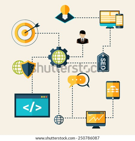 Seo technical analytics research and optimization process flowchart vector illustration - stock vector