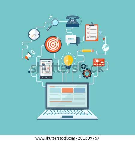 SEO technology flat illustration with laptop and icons. eps10 - stock vector