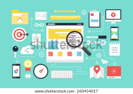 SEO , web development. Flat design style modern vector illustration. - stock vector