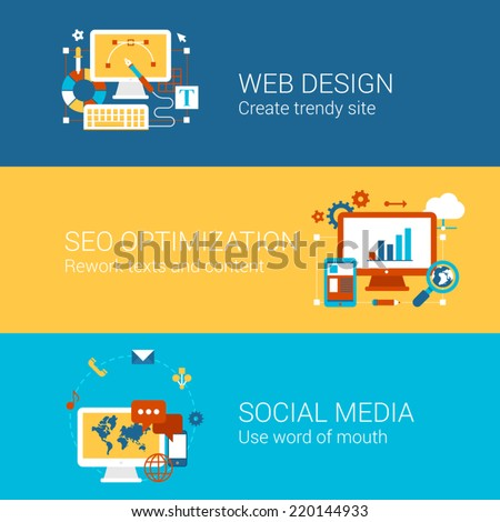 SEO webdesign social media concept flat icons set of processes search engine optimization word of mouth vector web banners illustration print materials website click infographics elements collection - stock vector