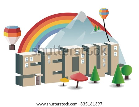 Seoul, beautiful destination to visit - stock vector