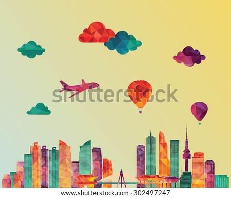 Seoul skyline detailed silhouette. Vector illustration - stock vector
