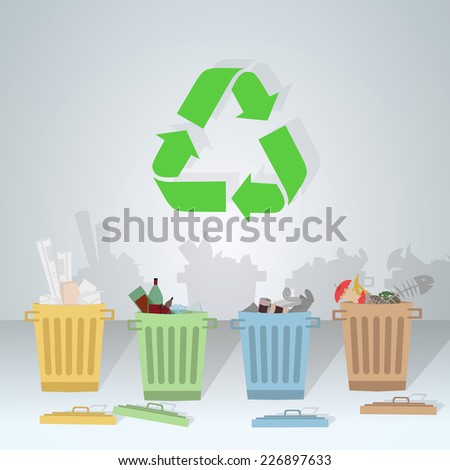 Separate waste in its corresponding color for recycling - stock vector