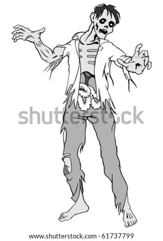 Separate zombie on a white background. Vector illustration. - stock vector