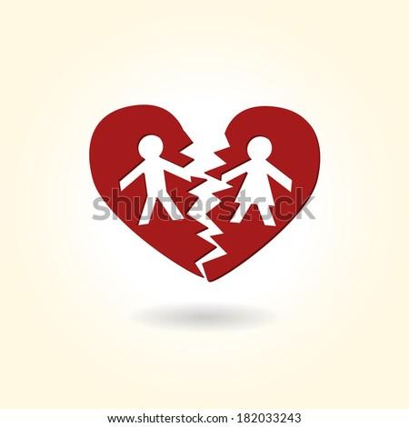 Separated divorced broken heart couple - stock vector