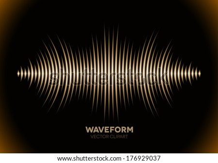 Sepia retro sound waveform with sharp peaks - stock vector