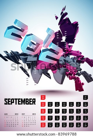 September - Calendar Design 2012 - stock vector
