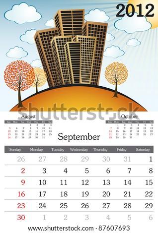 September. 2012 Calendar. Souvenir fonts used. A3 - stock vector