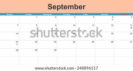September 2015 planning calendar. Illustration - stock vector