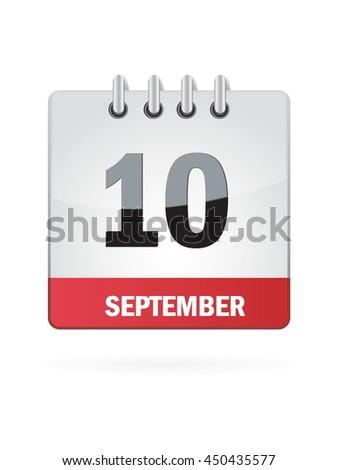 September Ten. Calendar Icon - stock vector