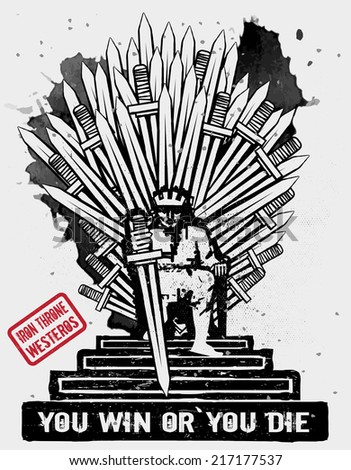 September 10, 2014: Vector illustration of the Iron Throne of Westeros, seat of the king at King's Landing, featured in TV show Game of Thrones - stock vector