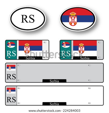 serbia auto set against white background, abstract vector art illustration, image contains transparency - stock vector