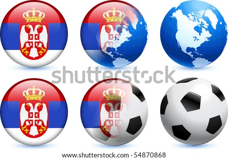 Serbia Flag Button with Global Soccer Event Original Illustration - stock vector