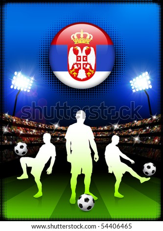 Serbia Flag Button with Soccer Match in Stadium Original Illustration - stock vector