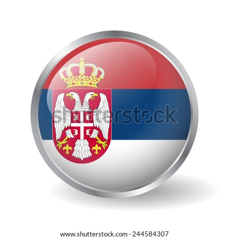 Serbian flag button vector - stock vector