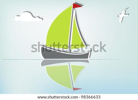 Serene sailing a summer day, eps10 vector - stock vector